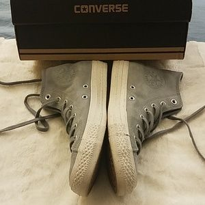 Converse grey leather high tops. Great condition